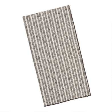 Black and Ivory Stripe Napkins Set of 4