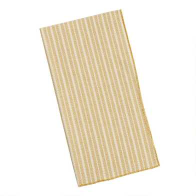 Golden Green and Ivory Stripe Napkins Set of 4