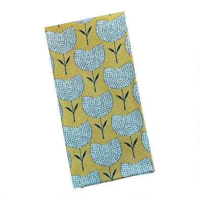 Yellow Flower Print Kitchen Towel Set of 2
