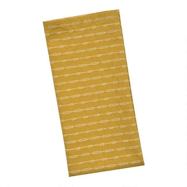 Golden Yellow and White Woven Kitchen Towel Set Of 2
