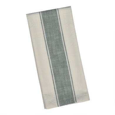 Ivory and Aqua Stripe Kitchen Towel Set of 2