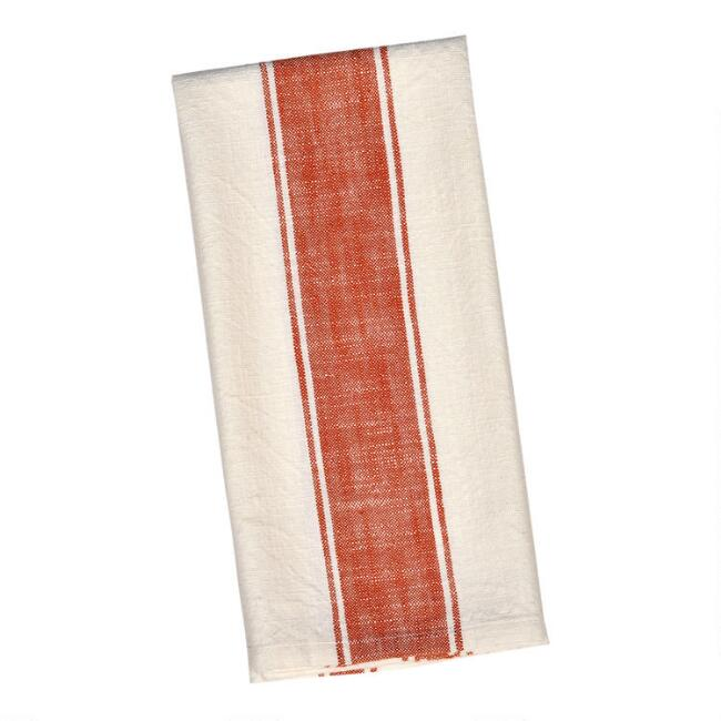 Ivory and Rust Stripe Kitchen Towel Set of 2