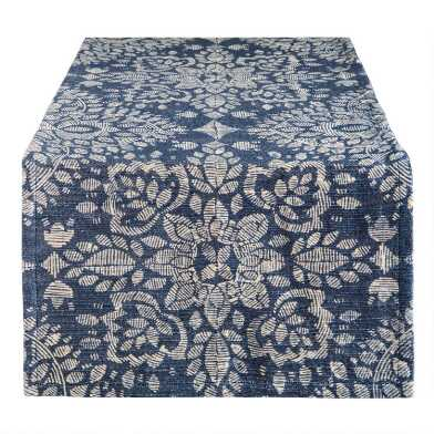 Blue and Ivory Floral Medallion Table Runner