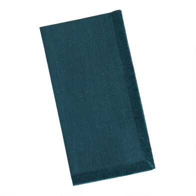 Dark Teal Cotton Slub Napkins with Fringe Set of 4