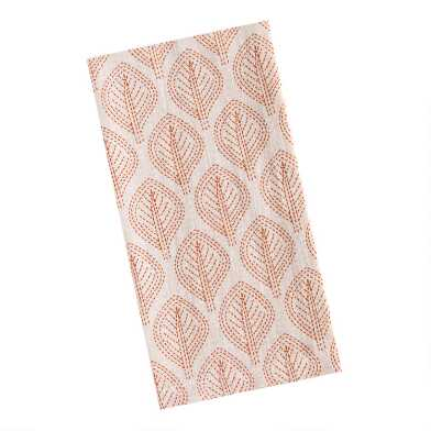 Ivory and Rust Leaf Print Napkins Set of 4