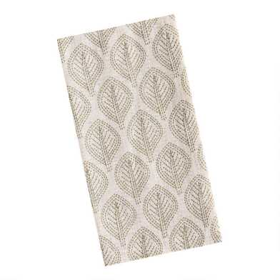 Ivory and Green Leaf Print Napkins Set of 4