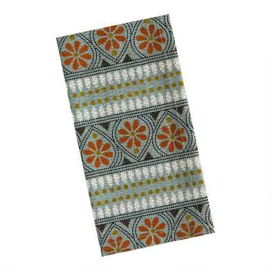 Teal and Rust Daisy Print Napkins Set of 4