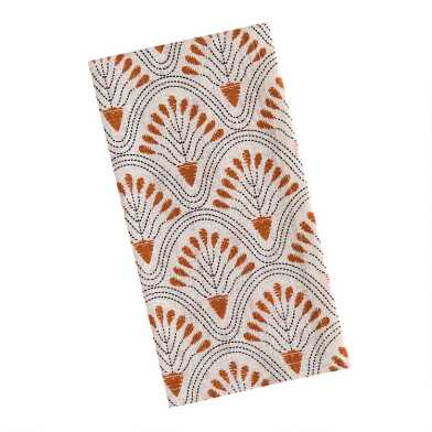 Ivory and Rust Deco Floral Fan Napkins Set of 4