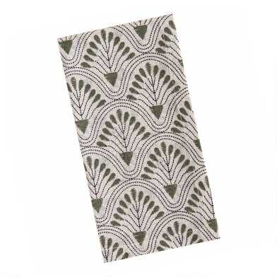Ivory and Green Deco Floral Fan Napkins Set of 4