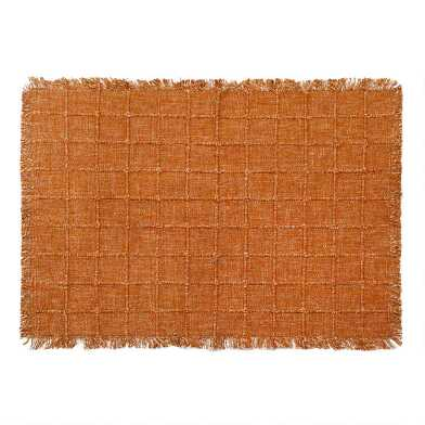 Rust Windowpane Placemats With Fringe Set of 4