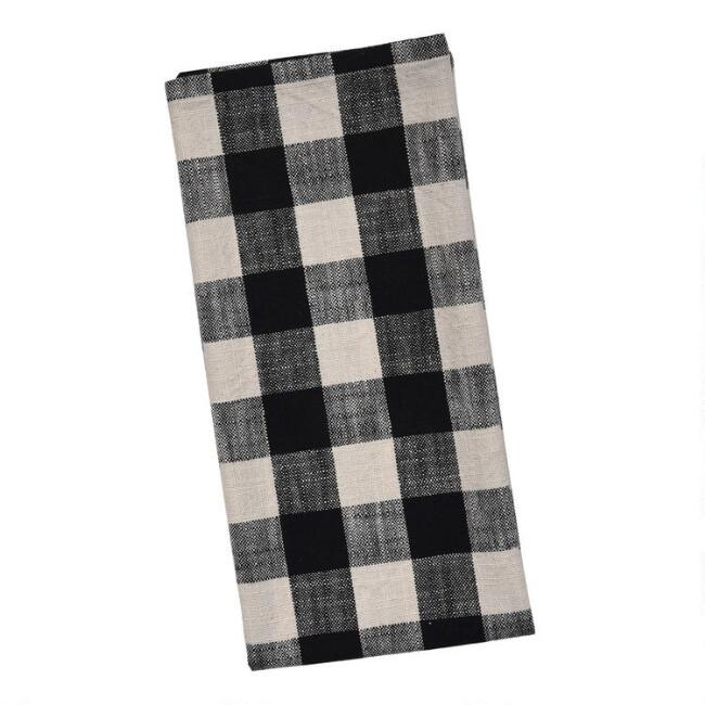 Black and Ivory Buffalo Check Kitchen Towel Set of 2