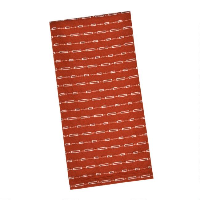 Rust and White Woven Kitchen Towel Set of 2