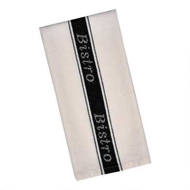 Ivory and Black Bistro Kitchen Towel Set of 2
