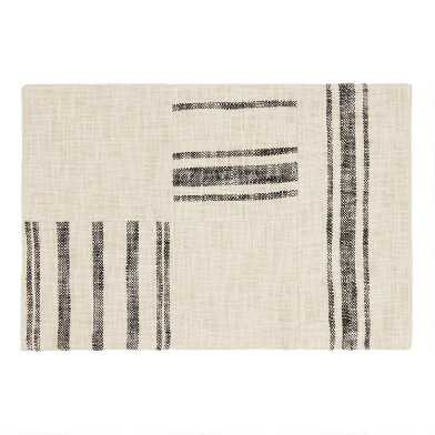 Ivory and Black Rustic Stripe Patch Placemats Set of 4