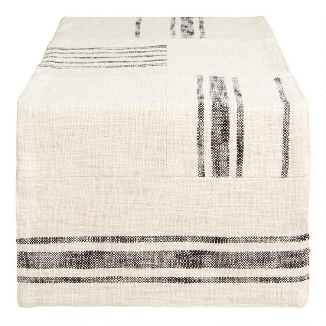 Ivory and Black Rustic Stripe Patch Table Runner