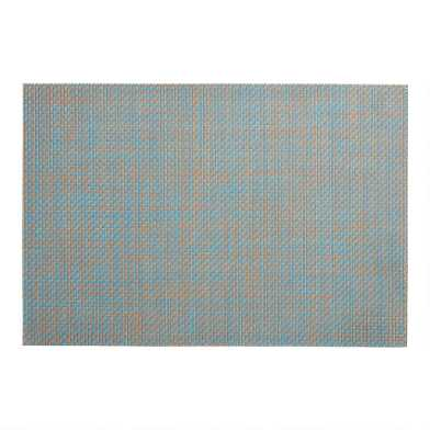 Blue Basketweave Reversible Vinyl Placemats Set of 4