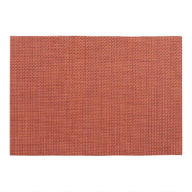 Orange Basketweave Reversible Vinyl Placemats Set of 4