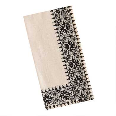 Ivory and Black Medallion Trim Napkins Set of 4
