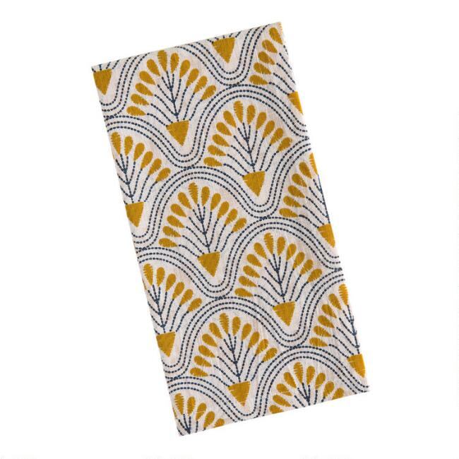 Ivory and Amber Deco Floral Fan Napkins Set of 4