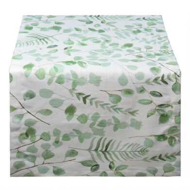 Eucalyptus Leaf Print Cotton Slub Table Runner