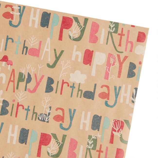 Woodland Happy Birthday Kraft Wrapping Paper Roll Set of 2