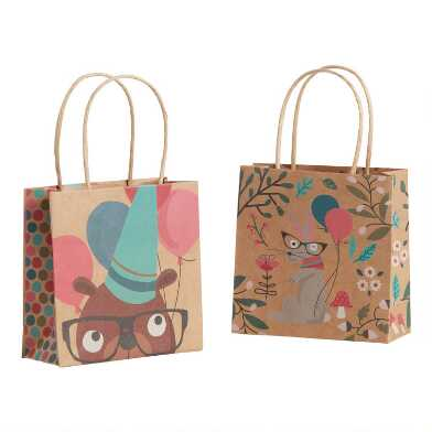 2 Pack Mini Woodland Kraft Gift Bags Set Of 2