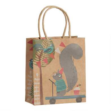 Small Woodland Squirrel Birthday Kraft Gift Bags Set Of 3