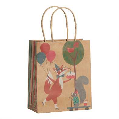Medium Friendly Fox Birthday Kraft Gift Bags Set Of 3