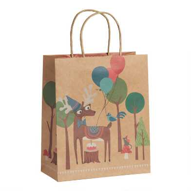 Large Woodland Deer Kraft Gift Bags Set Of 2