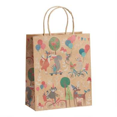 Large Time to Party Woodland Kraft Gift Bags Set Of 2