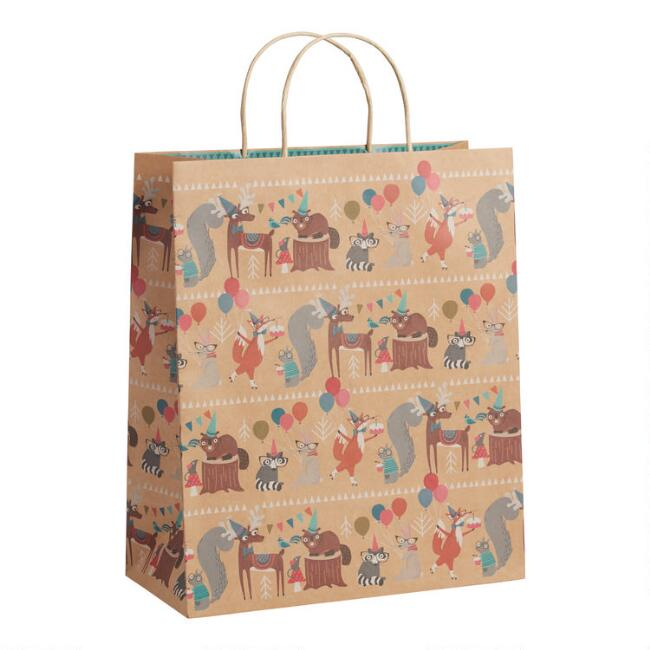 Jumbo Time to Party Woodland Kraft Gift Bags Set Of 2