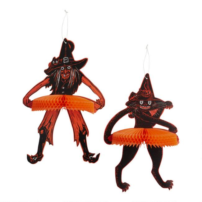Vintage Halloween Tango Witch and Cat Hanging Decor 2 Pack