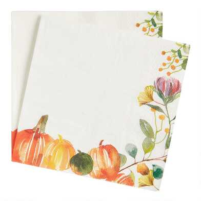 20 Count Rustic Pumpkin Lunch Napkins Set of 2