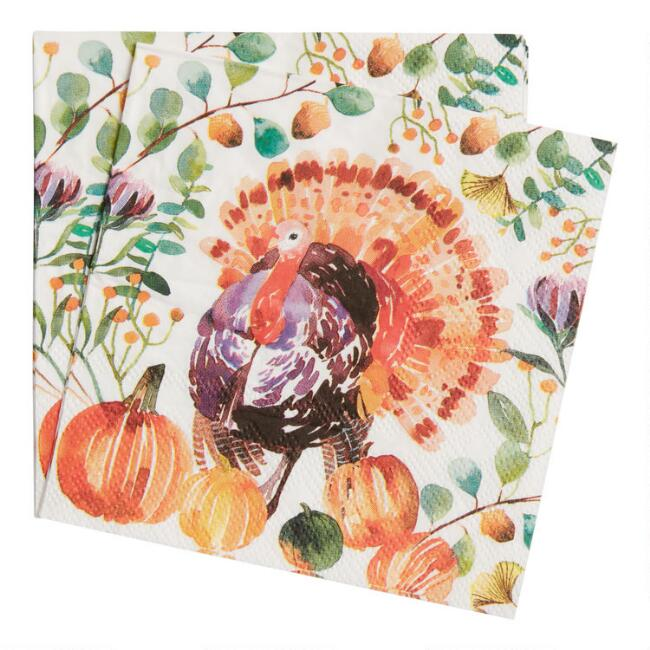 20 Count Rustic Turkey Beverage Napkins Set of 2