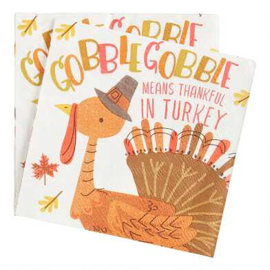 20 Count Gobble Gobble Beverage Napkins Set of 2