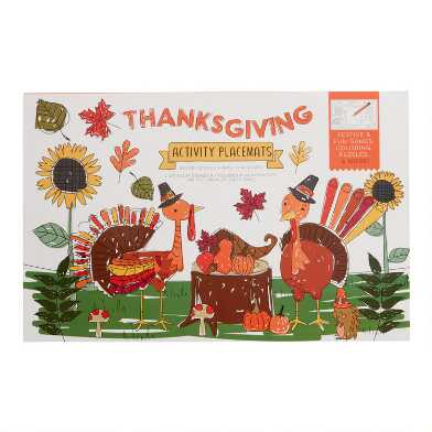Thanksgiving Activity Placemats Book 12 Count