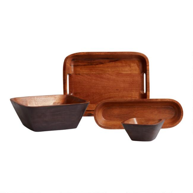 Black and Natural Wood Serveware Collection