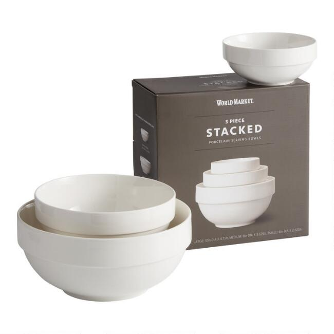 Natural White Ceramic Stacked 3 Piece Serving Bowl Set