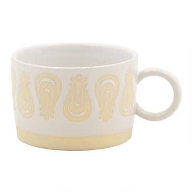 White and Tan Retro Wax Resist Mugs Set of 4