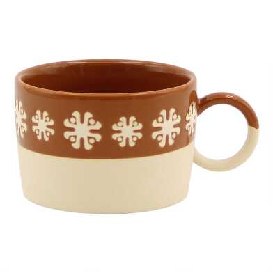 Brown and Tan Retro Wax Resist Mugs Set of 4