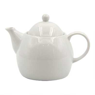 White Porcelain Coupe Teapot