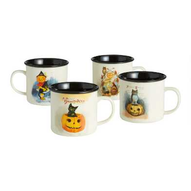 Ivory and Black Vintage Halloween Mugs Set of 4