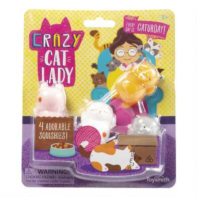 Toysmith Crazy Cat Lady Squishy Toys Set of 2