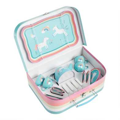 Unicorn Tin Tea Set in Carrying Case