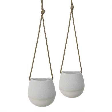 Natural and White Dipped Hanging Planter
