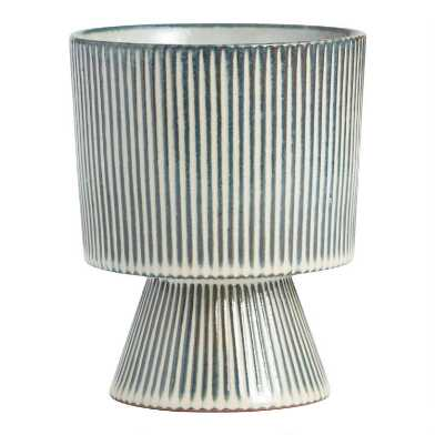 Indigo Blue and White Striped Pedestal Planter