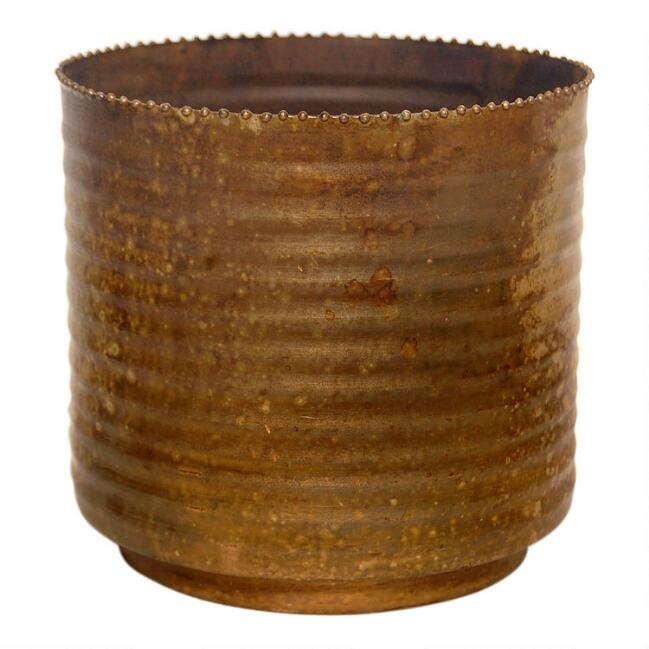 Aged Brass Ribbed Planter