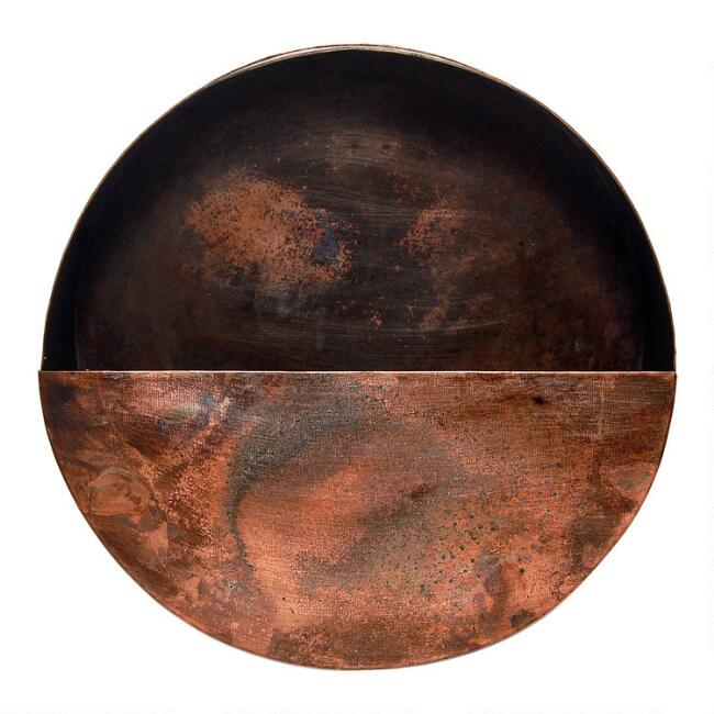 Small Round Aged Copper Wall Planter