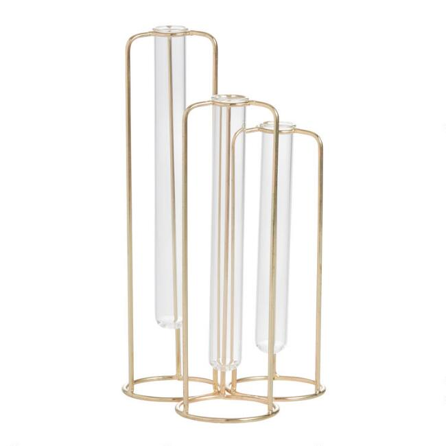 Gold and Glass Staggered Test Tube Vases