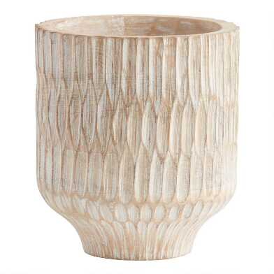 Natural Carved Wood Planter